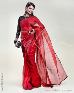 SR-0332 Red & Black Organza Saree