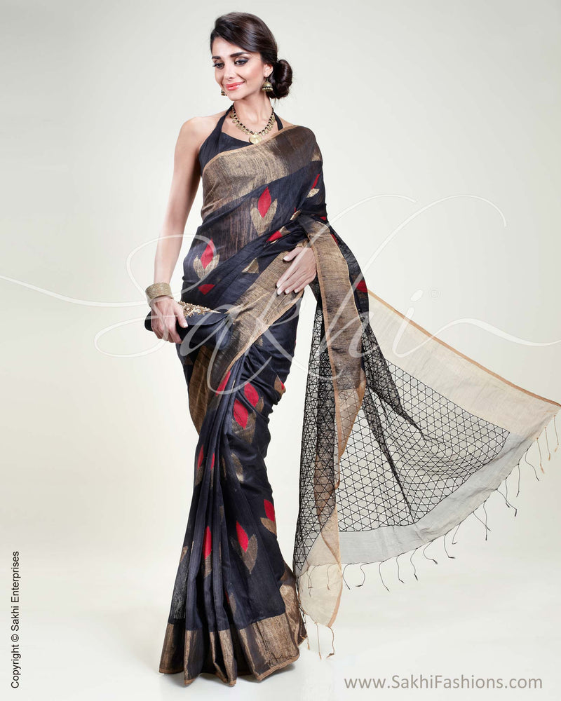 SR-0335 Black & Gold Matka Silk Saree