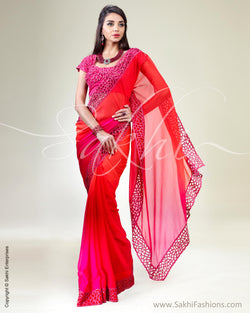 SR-0337 Orange & pink Chiffon silk saree