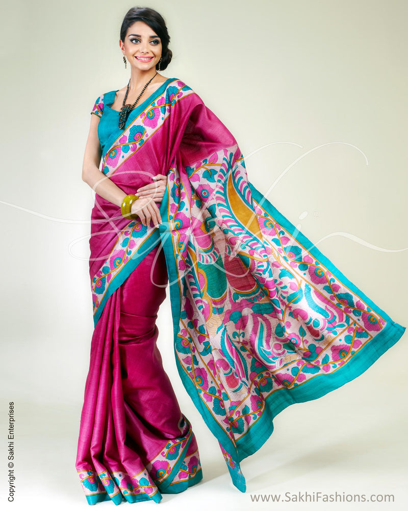 SR-0338 Pink & Green Tussar Silk Saree
