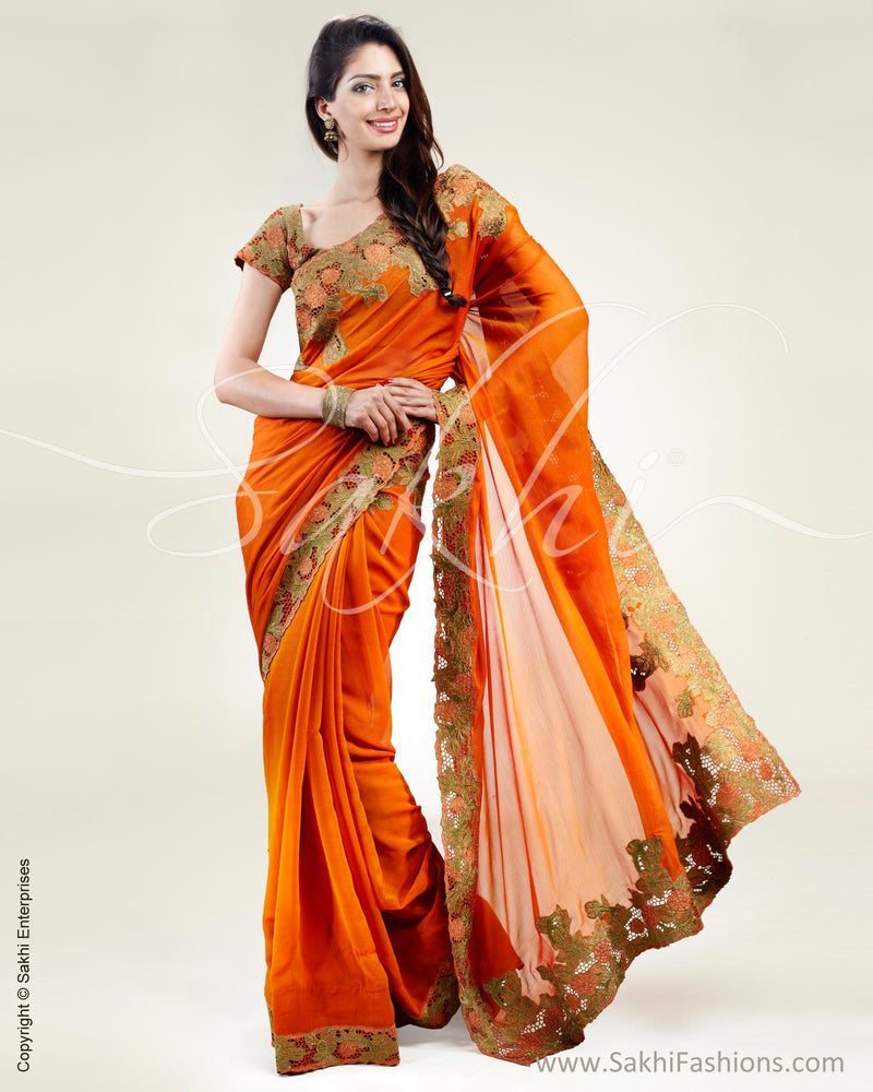 SR-0370 Orange Chiffon Cutwork saree