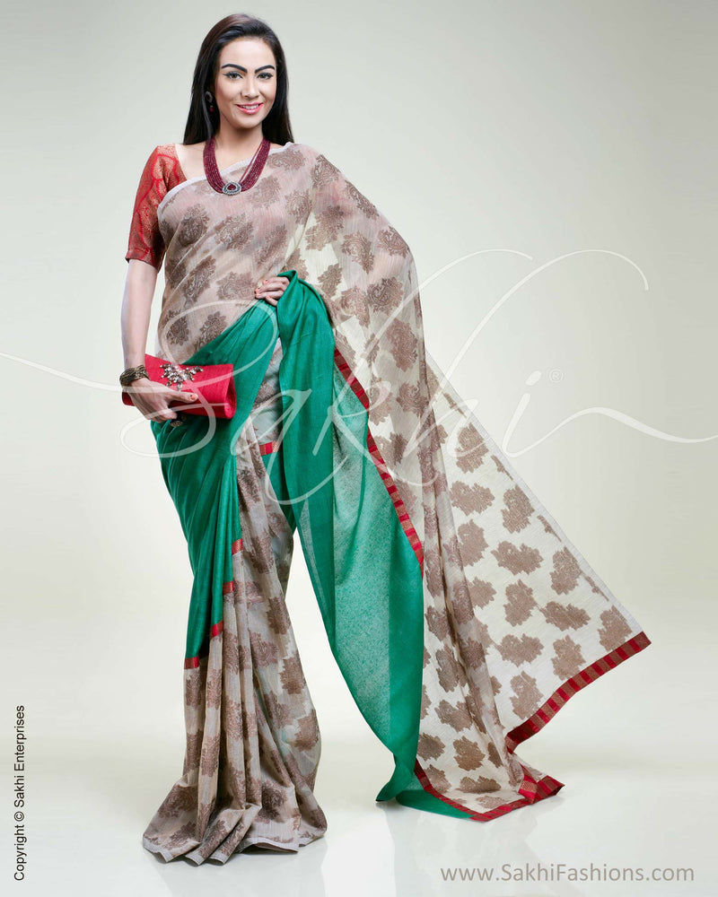 SR-0372 Green Tussar and muted Kora with red Banarsi saree