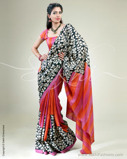 SR-0353 Black & Pink Tussar Silk Saree
