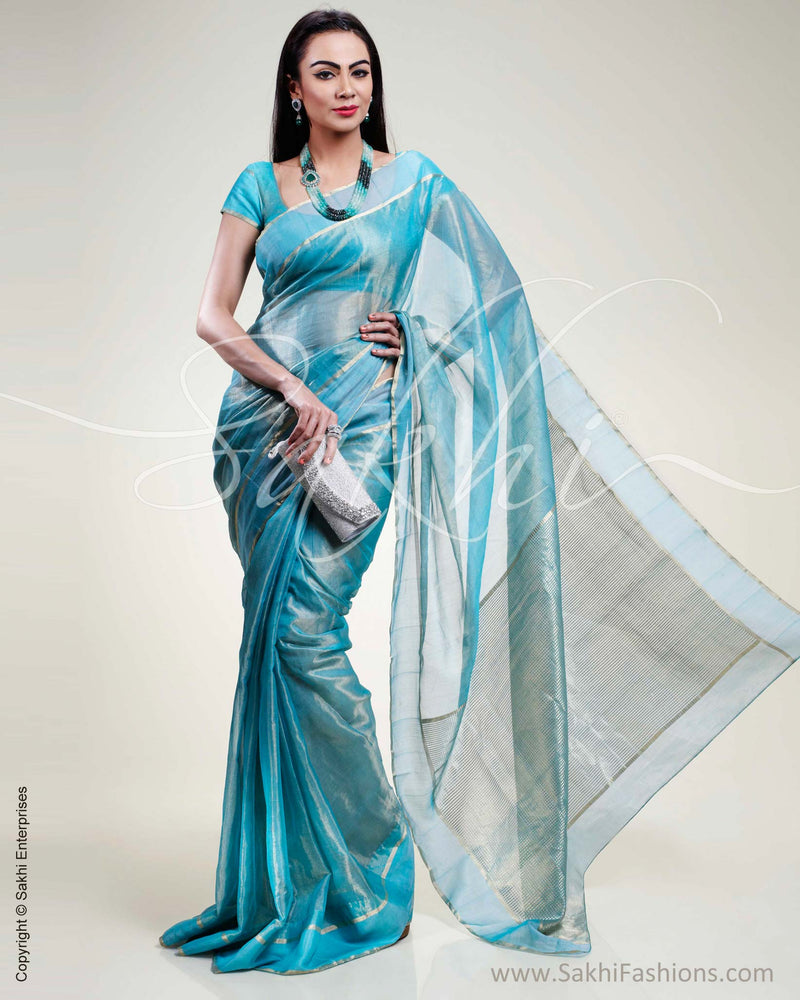 SR-0386 Blue Chanderi Saree