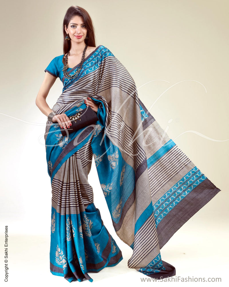 SR-0389 Blue & Brown Tussar Silk Saree