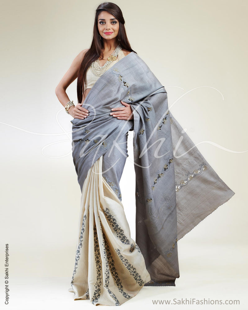 SR-0398 Cream & Grey Tussar Silk Saree