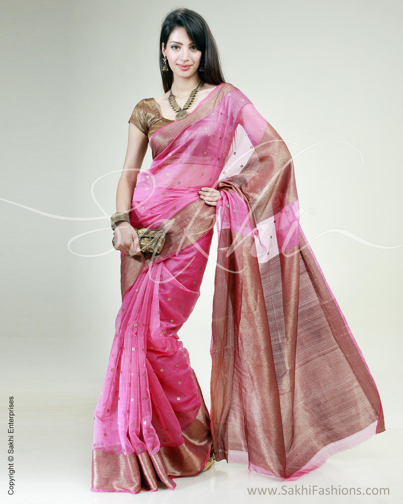 SR-0409 Pink & Antique Gold Silk & Cotton Saree