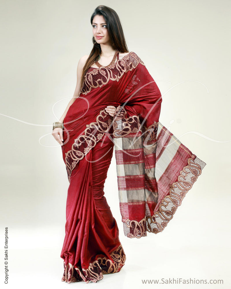 SR-0411 Maroon & Gold Pure Tussar Silk Saree
