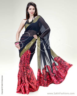 SR-0445 Pink & Black Pure Silk Saree