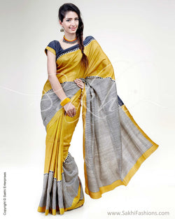 SR-0447 Yellow & Multi Tussar Saree