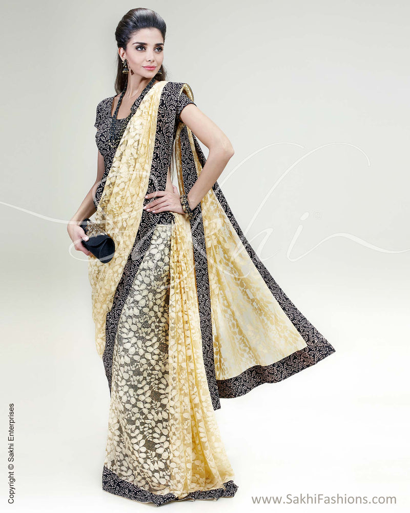 SR-0455 Yellow & Black Pure Lace Saree Saree