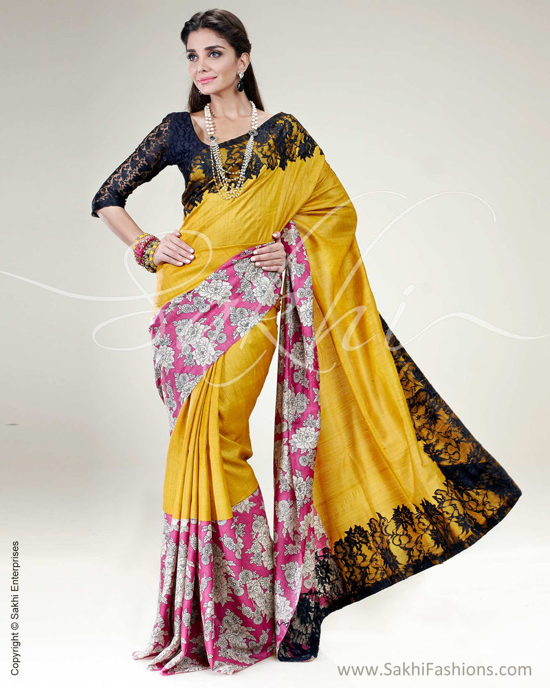 SR-0457 - Mustard & Multi Pure Tussar Silk Saree