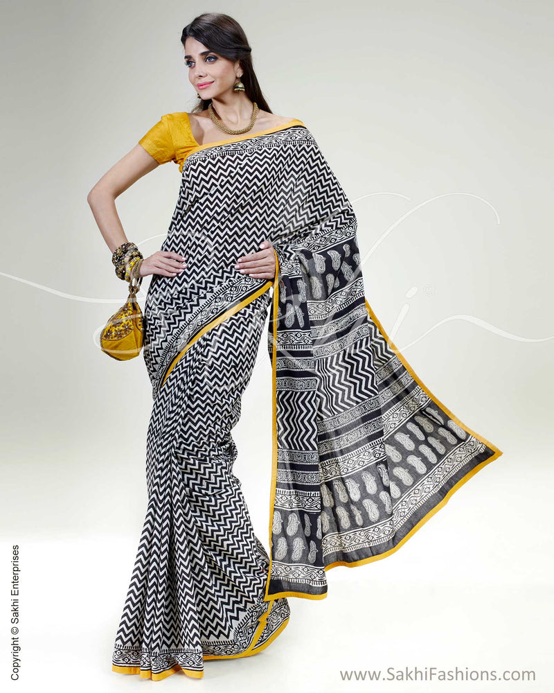 SR-0458 Black & white pure Cotton saree