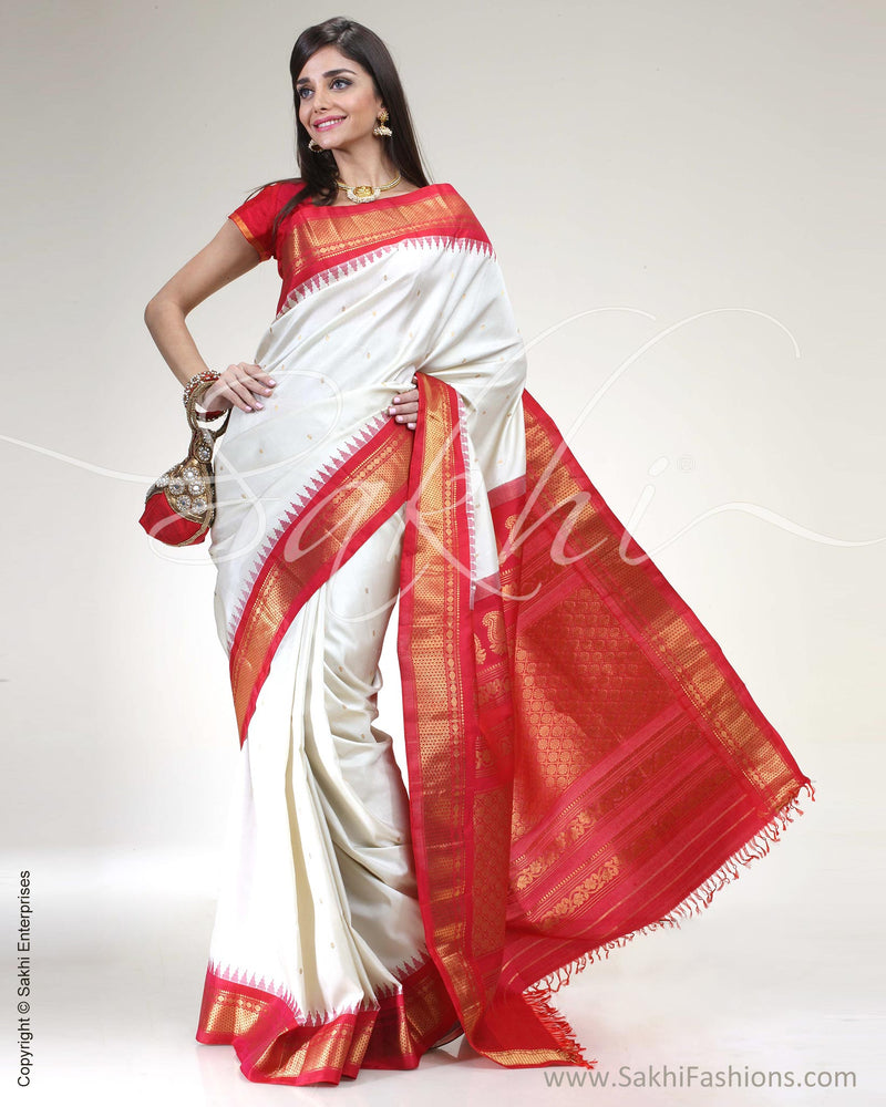SR-0473 Cream & Red Pure Gadwal Silk Saree