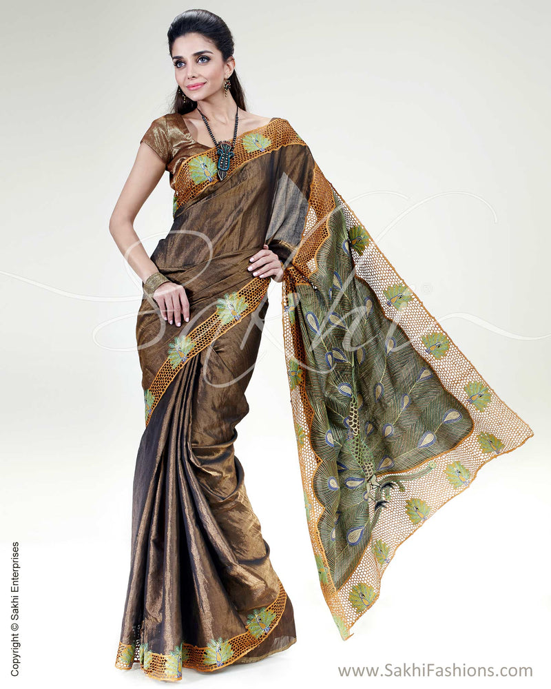 SR-0492 Black & Gold Pure Tissue Uppada Saree
