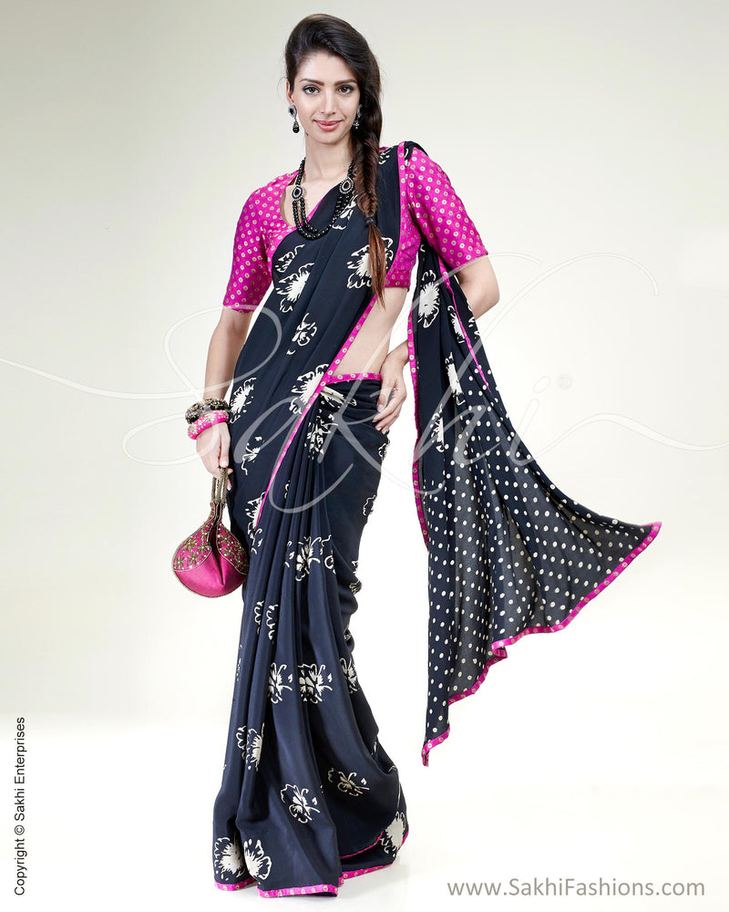 SR-0493 Black & Violet Pure Crepe Silk Saree