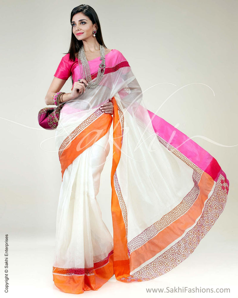 SR-0495 White & pink pure Silk Kota saree