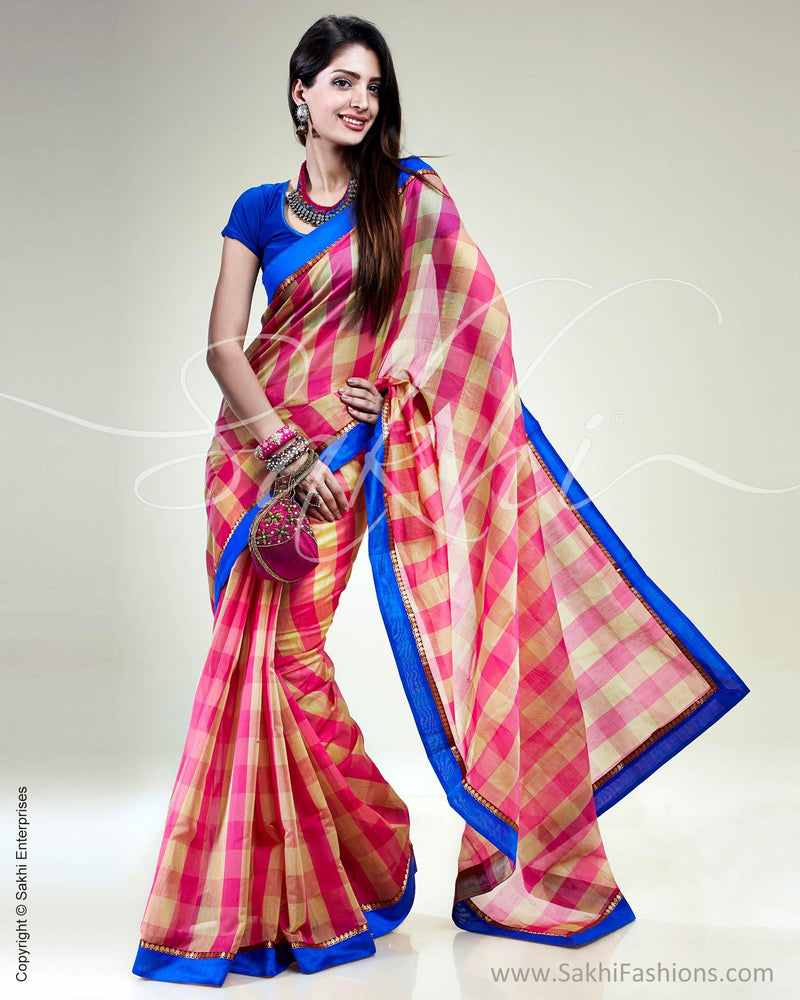 SR-0497 Pink & multi pure Chanderi saree