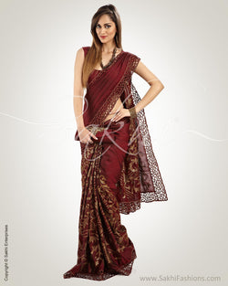 SR-0506 Maroon & Antique Gold Pure Kanchivaram Silk Saree