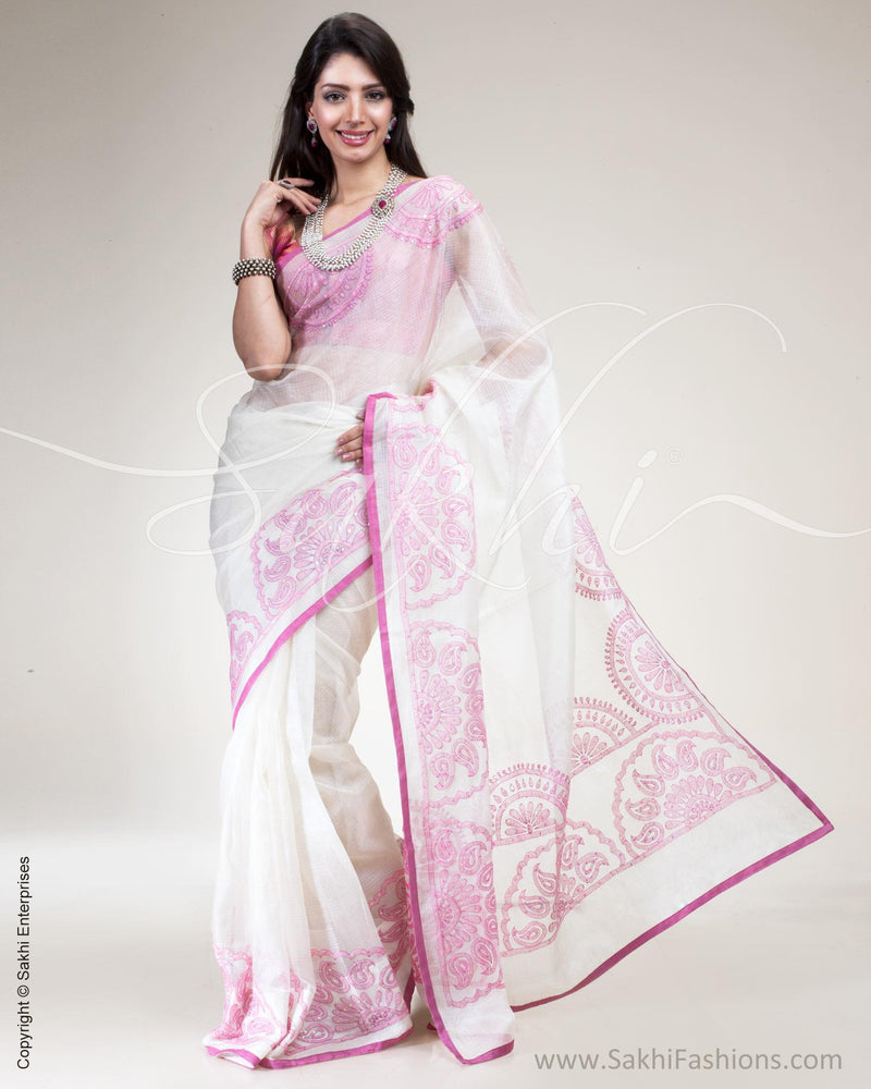 SR-0509 - Cream & Pink Pure Kota Silk Saree