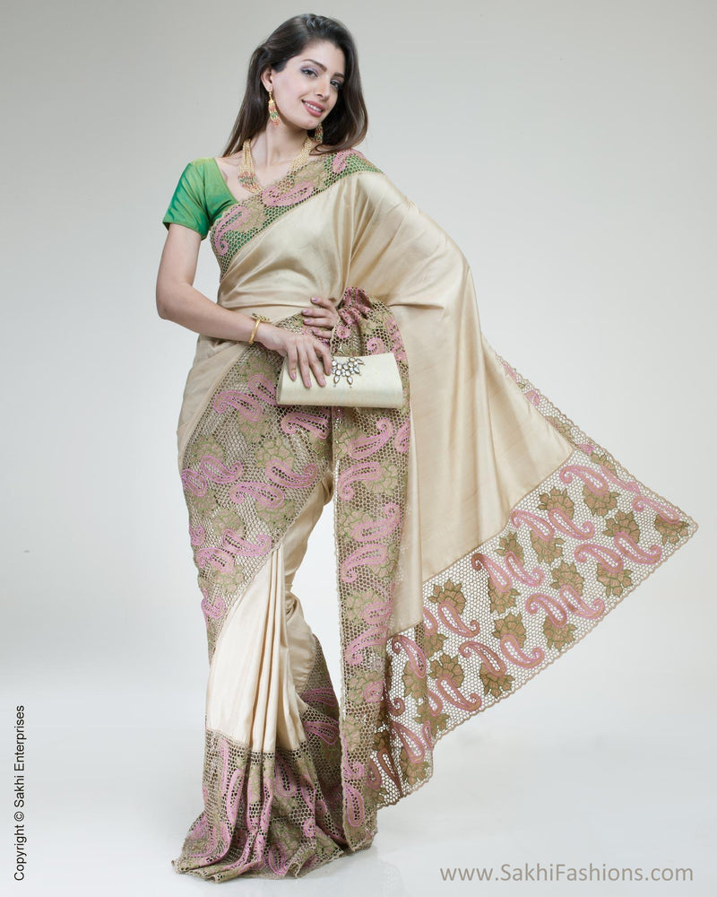 SR-0512 - Beige & Pink Pure Kanchivaram Saree