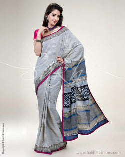 SR-0514 - White & Pink Pure Cotton Saree