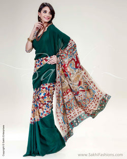 SR-0518 - Green & Multi Pure Crepe Silk Saree