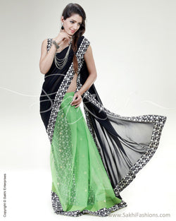 SR-0523 - Black & Multi Pure Georgette Silk Saree