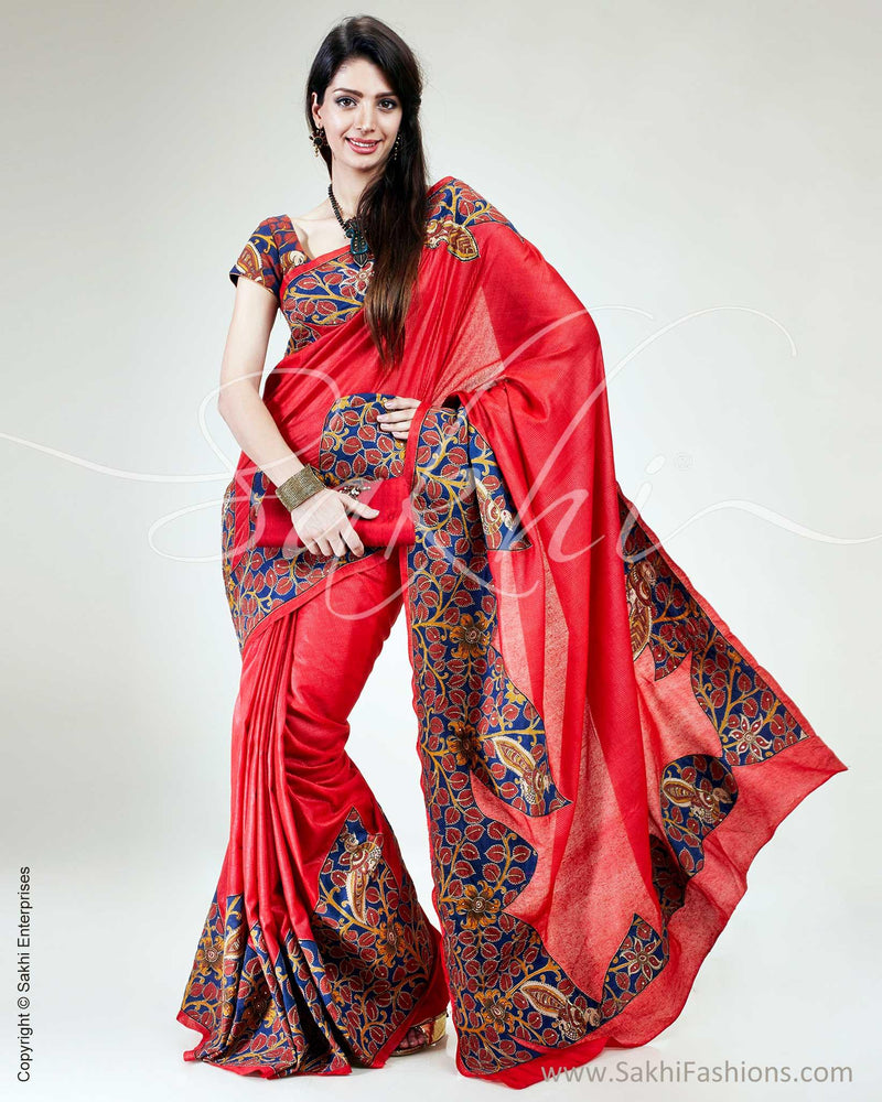 SR-0535 - Red & Blue Pure Tussar Silk Saree