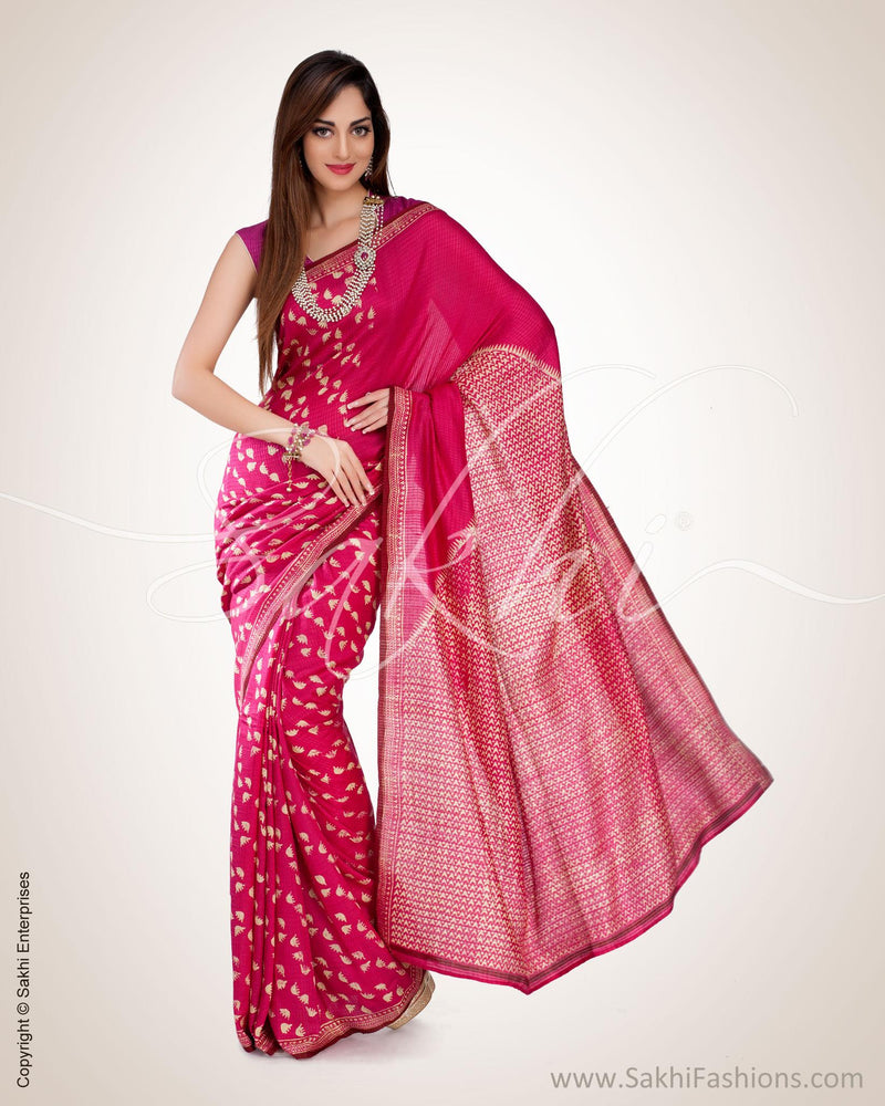 SR-0539 - Pink & Cream Pure Silk Saree
