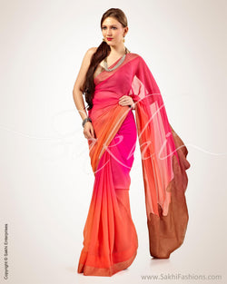 SR-0541 - Pink & Orange Pure Chiffon Silk Saree
