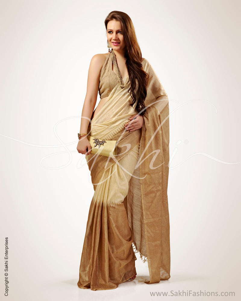 SR-0544 - Beige & Gold Pure Tussar Silk Saree