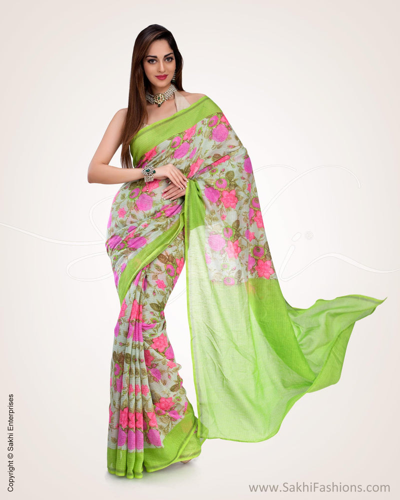 SR-0548 - Green & Beige  Blended Tussar Saree