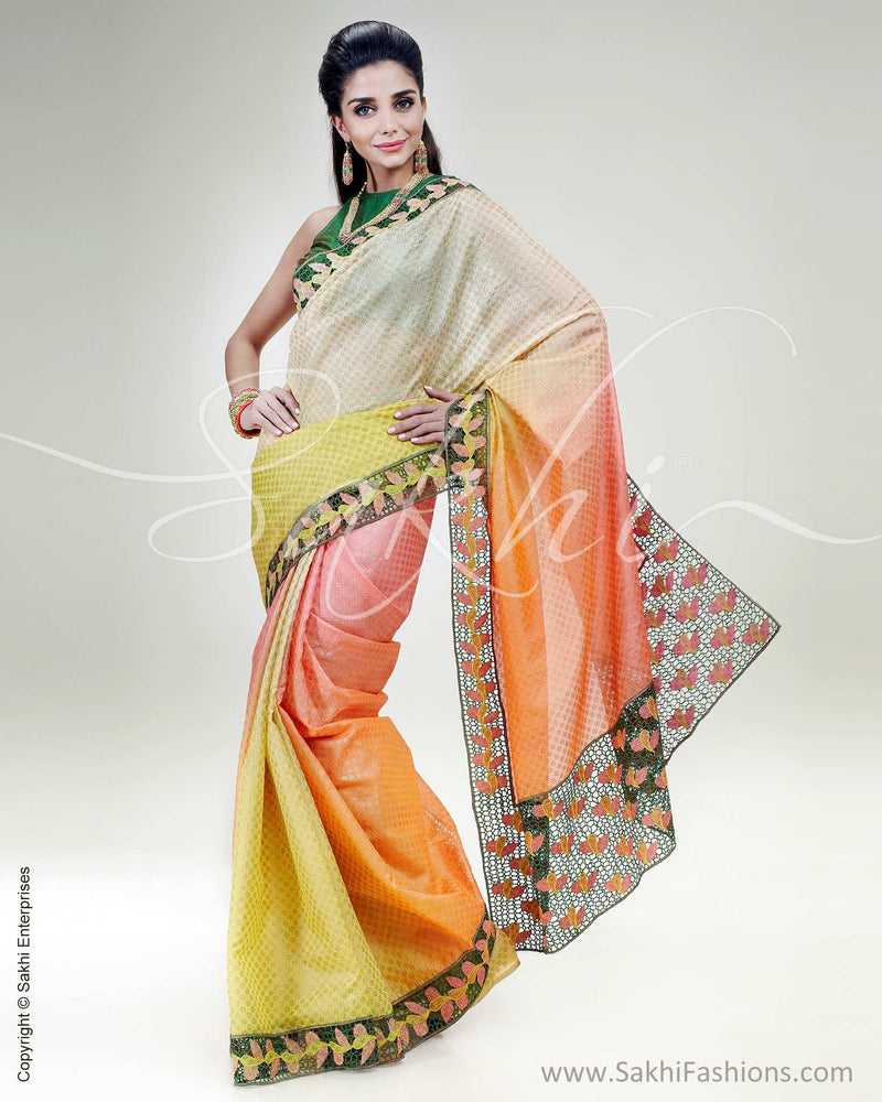 SR-0558 - Yellow & Orange Pure Silk Kota Saree