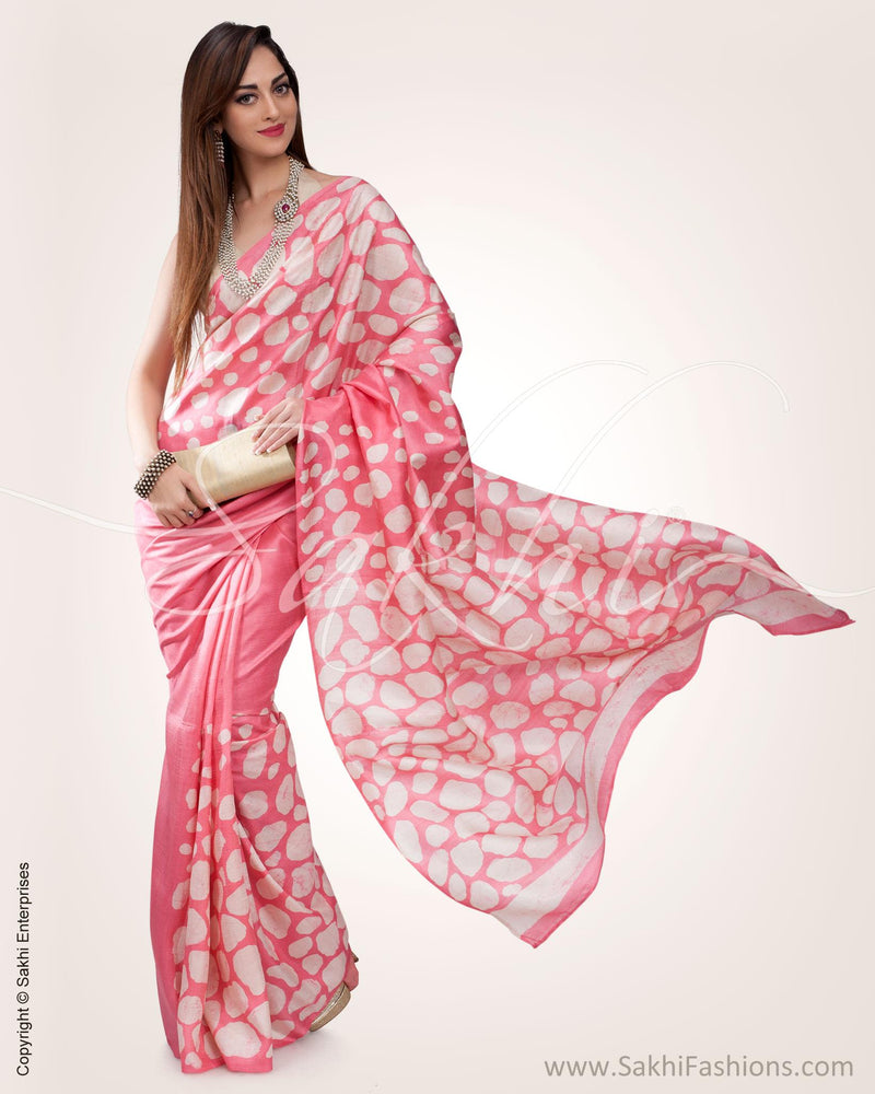 SR-0563 - Pink & Cream Pure Silk Saree