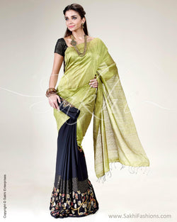 SR-0564 - Green & Black Pure Tussar Silk Saree