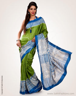 SR-0565 - Green & Beige Pure Tussar Silk Saree