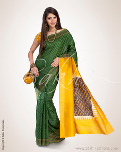 SR-0567 - Green & Multi Pure Silk Saree