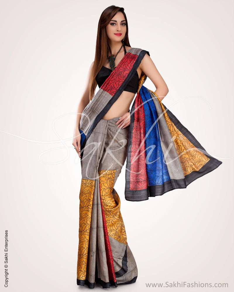 SR-0568 - Multi Pure Tussar Silk Saree