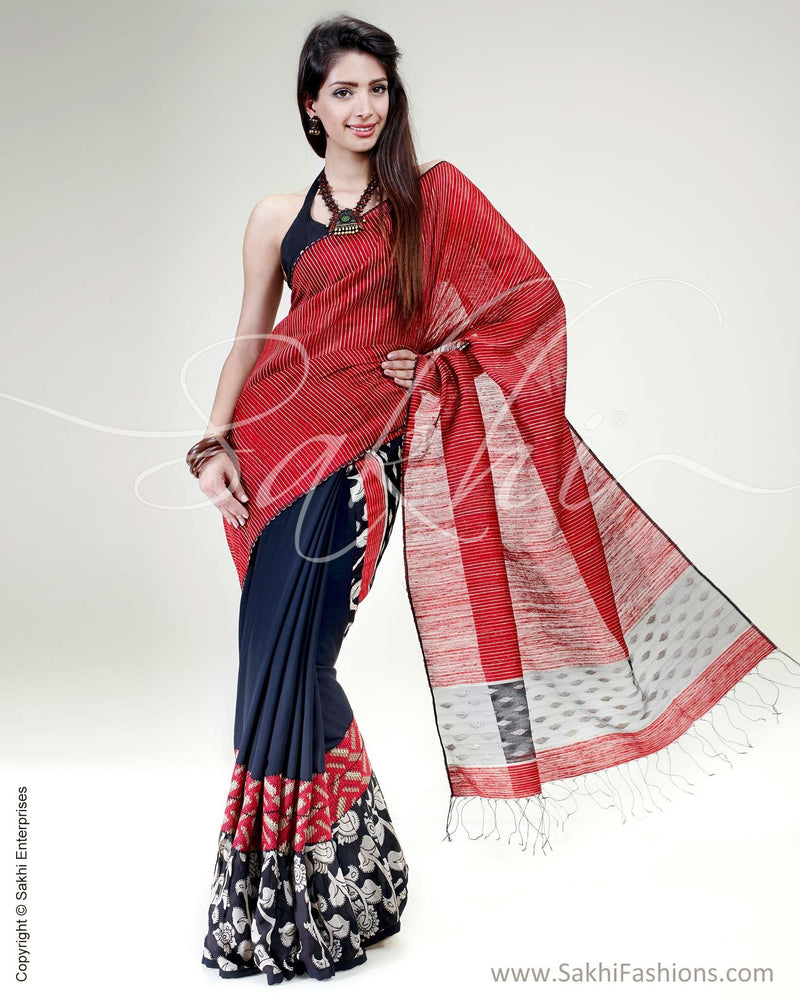 SR-0575 - Black & maroon pure Georgette silk saree