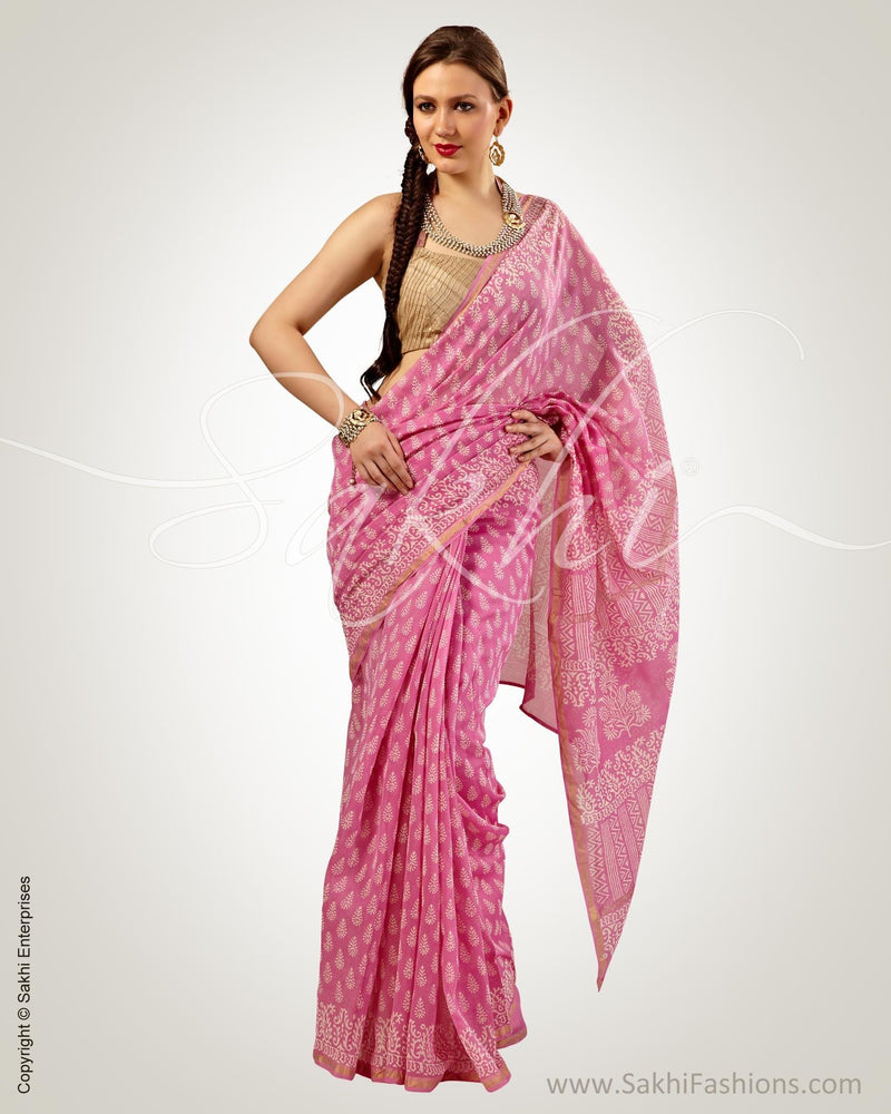 SR-0581 - Pink & White Pure Chanderi  Saree
