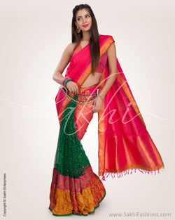 SR-0582 - Pink & Multi   Pure Kanchivaram Silk Saree