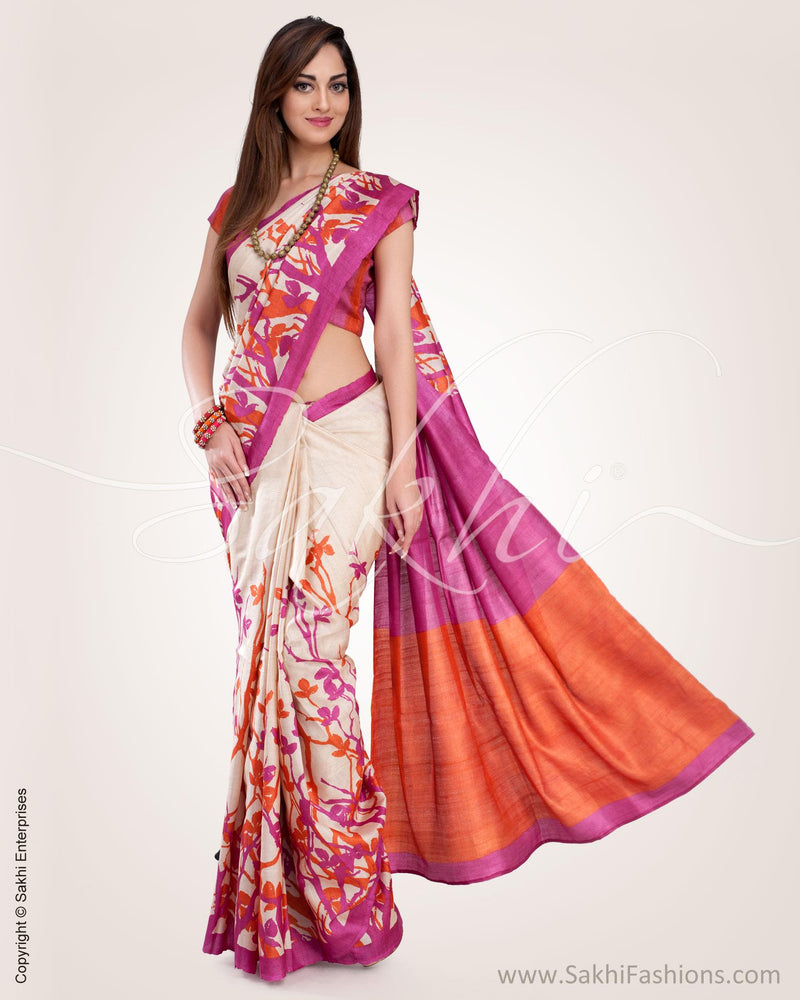 SR-0589 - Beige & Multi Pure Tussar Silk Saree