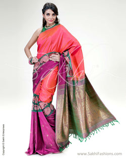 SR-0594 - Pink & Violet Pure Kanchivaram Silk Saree