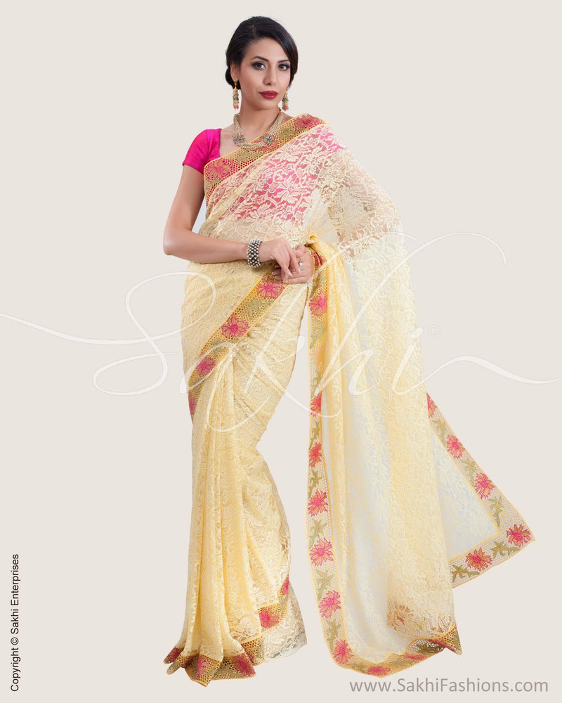 SR-0599 - Cream & multi Lace saree