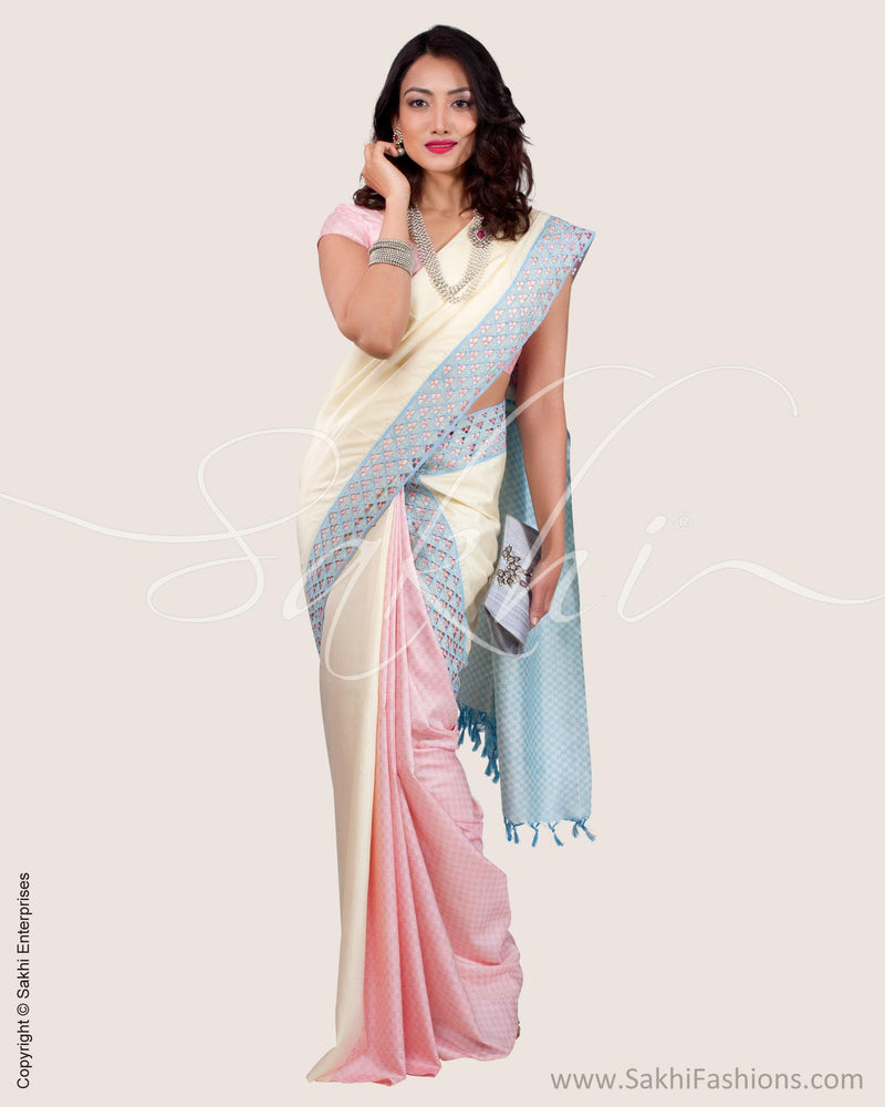 SR-0609 - Cream & pink pure Kanchivaram silk saree