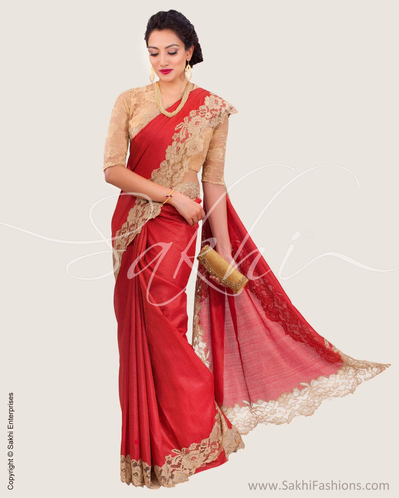 SR-0614 - Red & Gold Pure Tussar Silk Saree