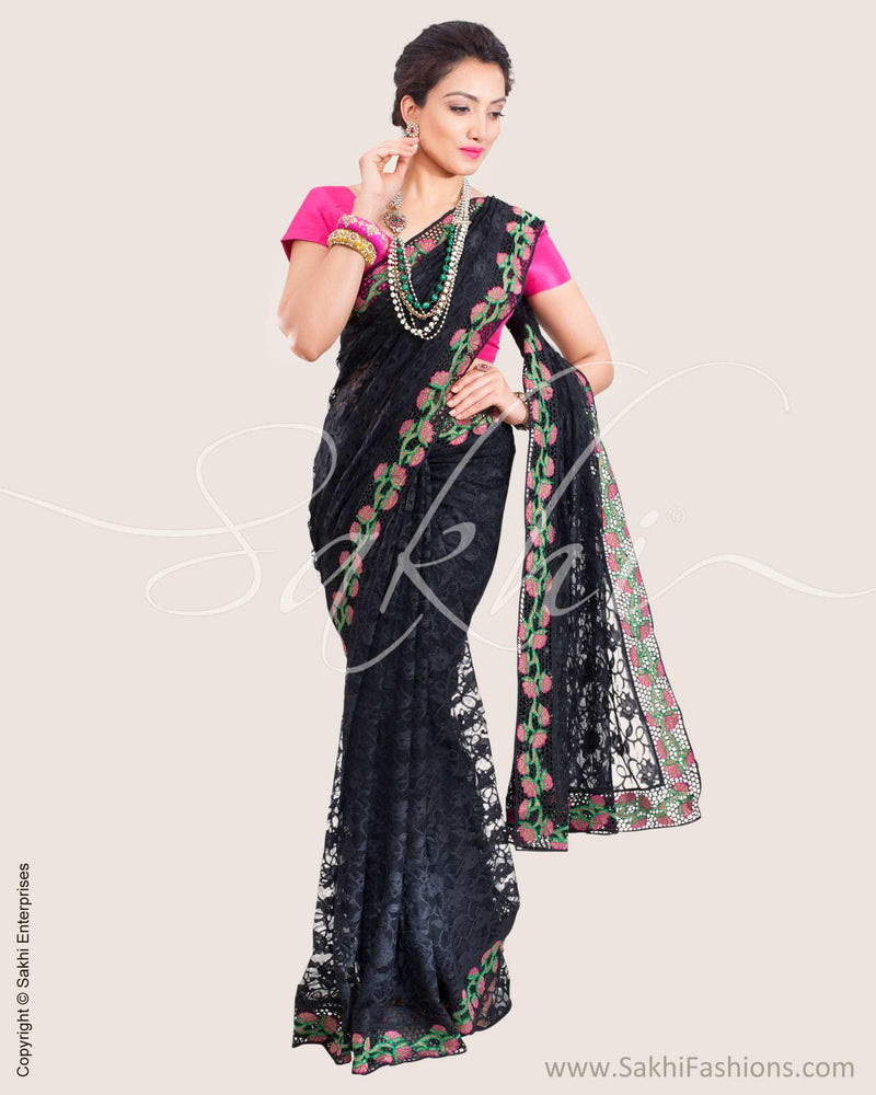 SR-0616 - Black & Multi Lace Saree