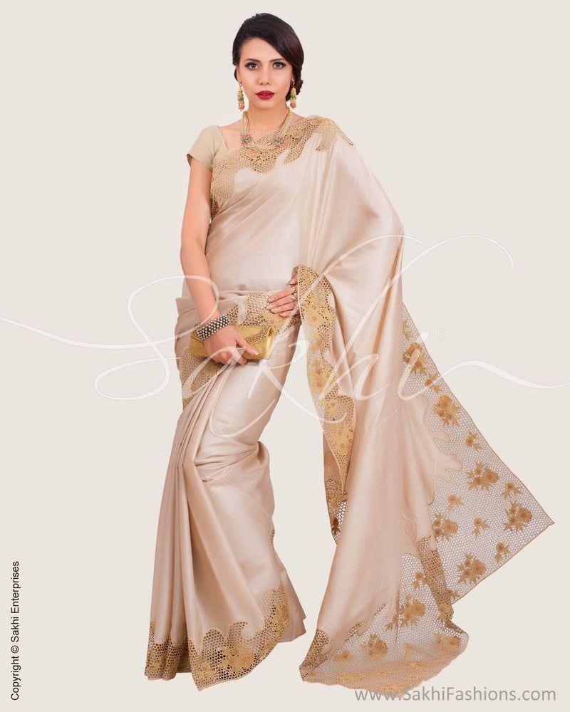 SR-0618 - Beige & Blue Pure Tussar Silk Saree
