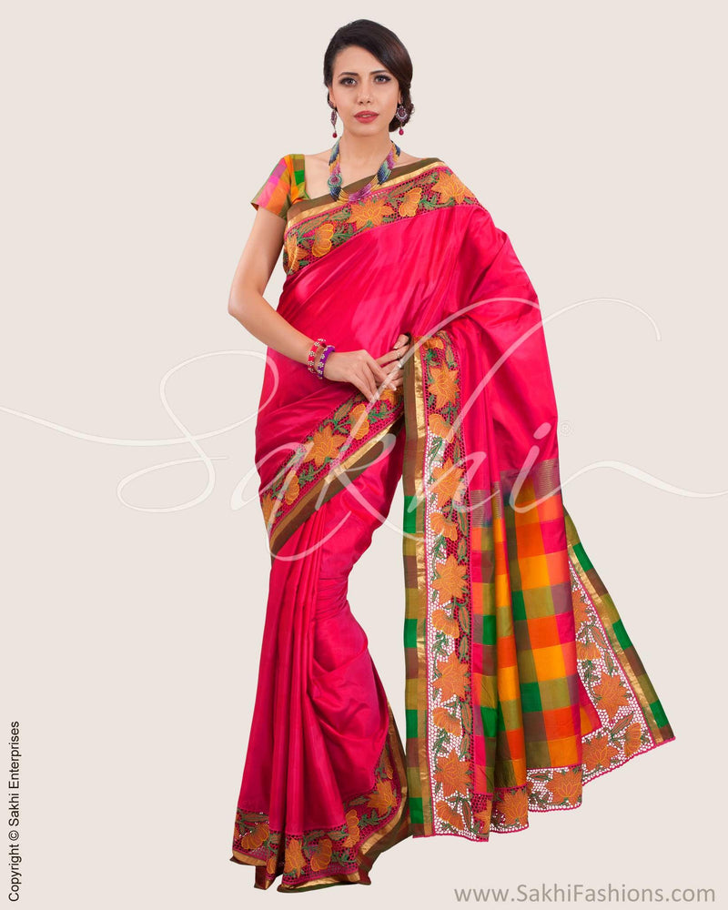 SR-0621 - Pink & Multi Pure Silk Saree